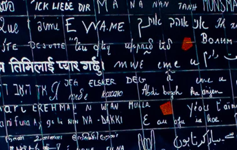 "The words ""I love you"" written in many different languages"