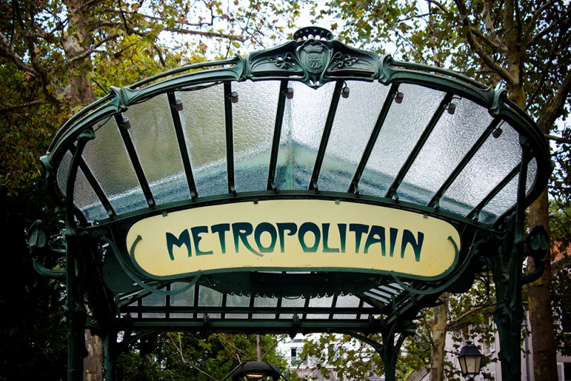 Art deco sign to Les Abbesses Métro Station in Paris
