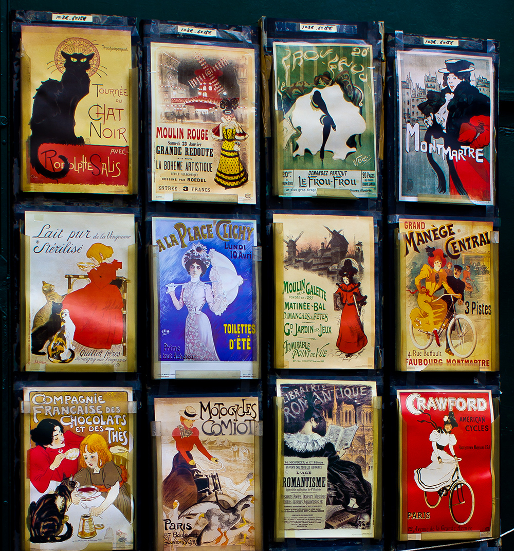 The Colourful Display of the Poster Shop on the Corner of Rue Lepic and Rue des Saules, Montmartre, Paris